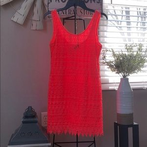 Lace dress in coral from H&M